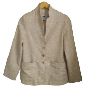 Vintage Raw Silk Creme Minimalist Blazer, size 4
